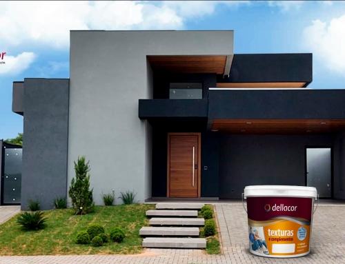 Casa com Textura Quartzo Dellacor em Cinza e Preto